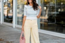 a spring outfit with an amazing stiped sweater