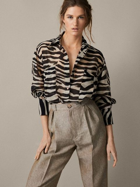 With tweed high-waisted wide leg trousers