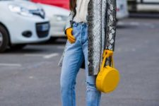 With white blouse, jeans, yellow socks, yellow rounded bag, gloves and shoes