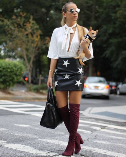 With white blouse, marsala over the knee boots and black tote bag
