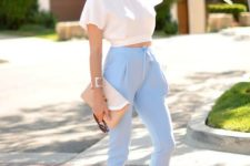 a pastel look with a loose crop top