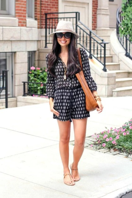 With white hat, oversized sunglasses, brown tote bag and flat sandals