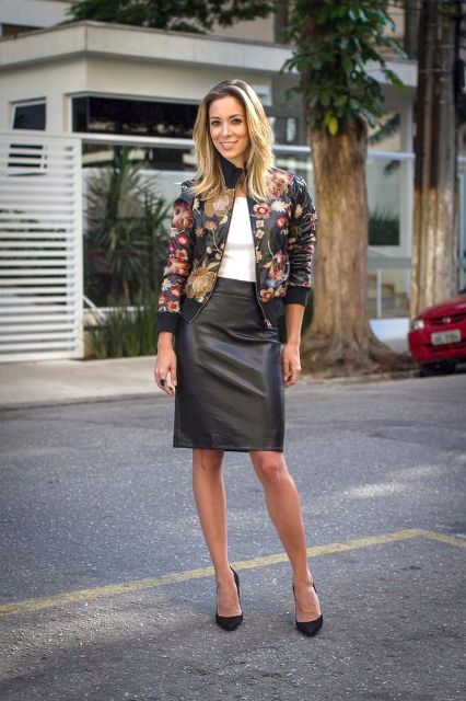 With white shirt, black leather pencil skirt and black pumps
