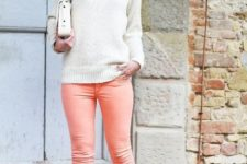 With white sweater, white clutch and beige platform shoes