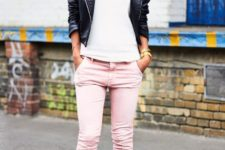 With white t-shirt, black leather jacket and black ankle strap shoes