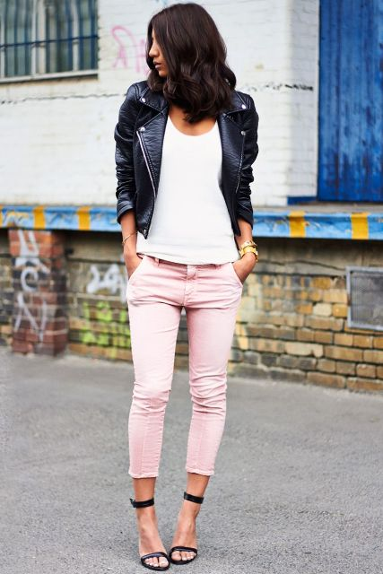With white t shirt, black leather jacket and black ankle strap shoes