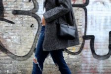 With white t-shirt, gray coat, distressed jeans, black bag and black sandals