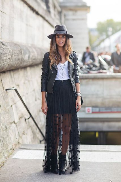 With white top, wide brim hat, leather jacket and ankle boots
