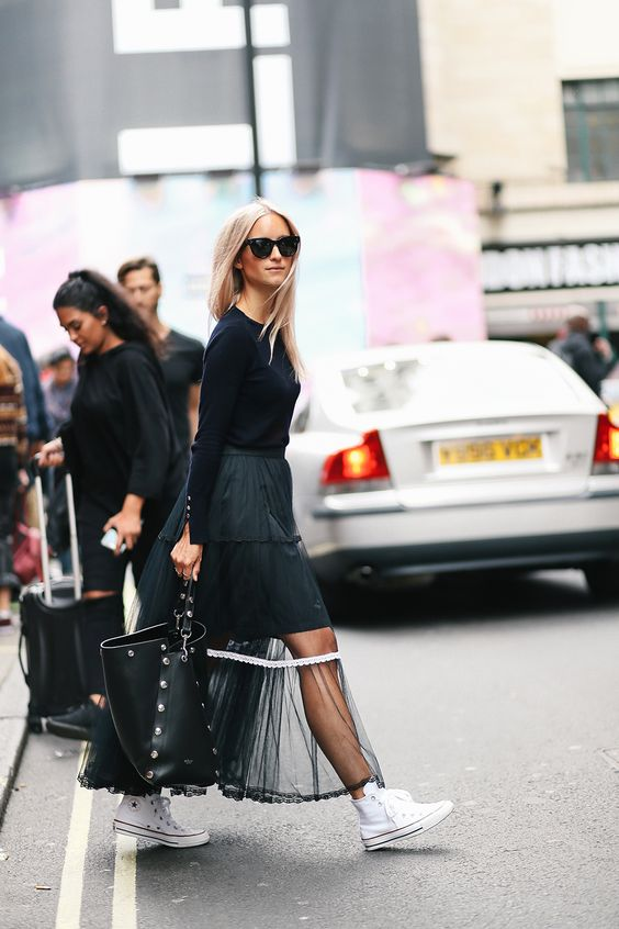 a catchy outfit with a black top, a black layered skirt, a sheer overskirt, white sneakers and a black tote