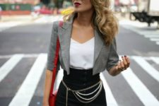 a catchy work look with a white top, a black button up pencil skirt, a grey cropped blazer and a red bag