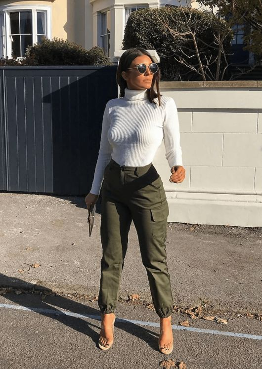 a girlish look with a white turtleneck, olive green cargo pants, sheer shoes for this spring