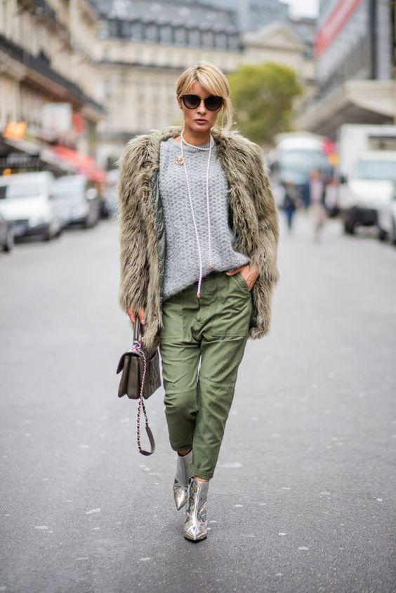 a stylish look with a faux fur coat