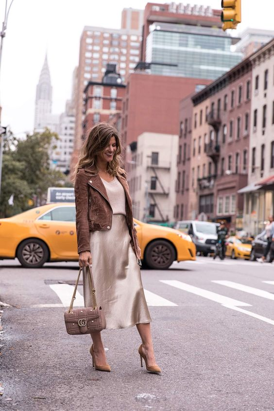 a muted color look with a top, a slip midi, tan shoes, a brown suede jacket and a brown bag