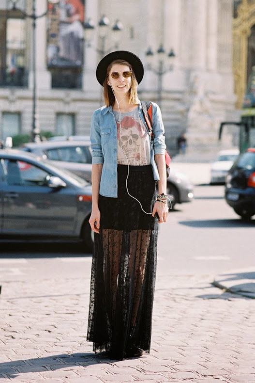 a printed tee, a black mini skirt, a black printed maxi skirt, a blue denim jacket and a black hat