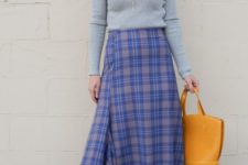 a super bright work look with a grey top, a purple plaid asymmetrical midi, red shoes and a mustard bag