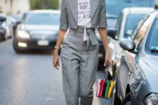 a trendy plaid suit outfit for spring