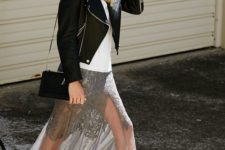 a white tee, a grey lace and sheer maxi skirt, black booties, a black leather jacket and a black crossbody bag