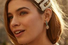 rectangle pearl barrettes and a variety of ear cuffs are what will make your look ultimate