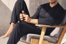 03 a black slim fit set with a long sleeve tee and pants is a great idea to wear at home
