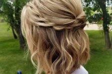 03 a blonde half updo with twists and two braids plus waves is a cool idea to wear every day
