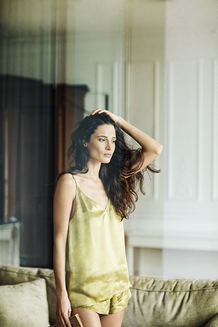 a mini green silk set with a spaghetti strap silk top and mini wide shorts is perfect for sleeping