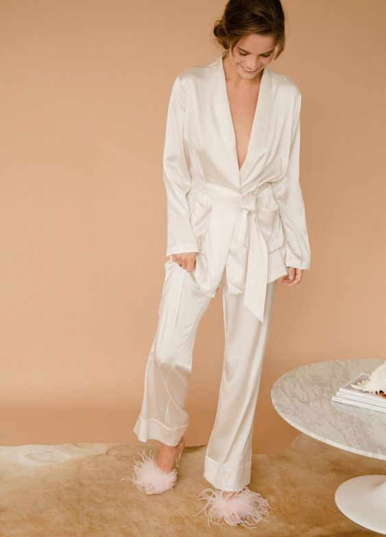 classic white silk pajamas redone modern with an oversized top with a deep neckline