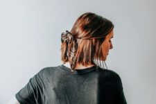 05 a half updo with a small ponytail and a printed hair tie is a cool idea for a casual look