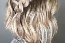 08 a wavy and short hairstyle with a large milk braid on top is a cool idea