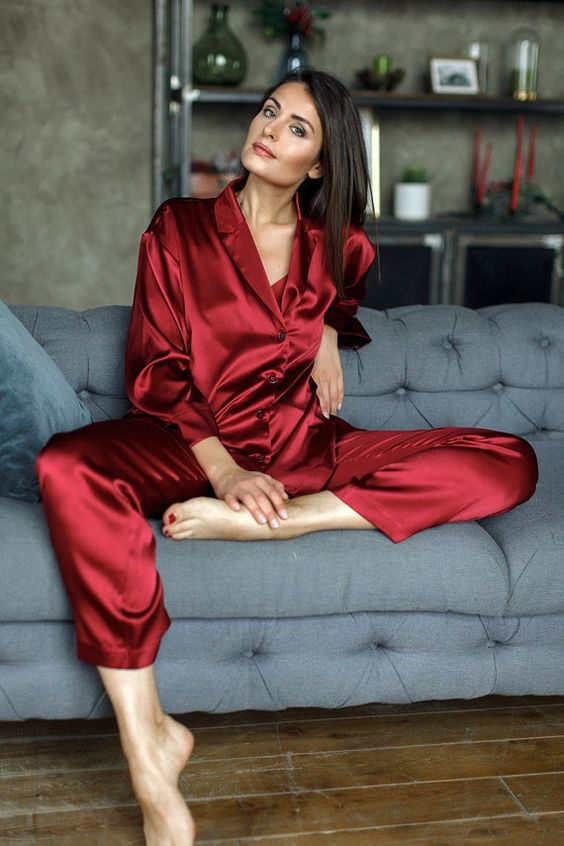 red silk pajamas with long sleeves and pants are amazing, both in color and fabric