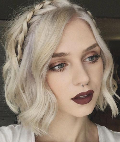 short wavy blonde hair with a braid as a headband is a creative and very cool idea