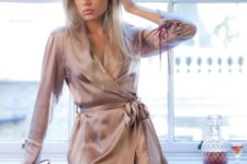 14 a blush pink silk robe with long sleeves is a classic idea for wearing at home and it's comfy