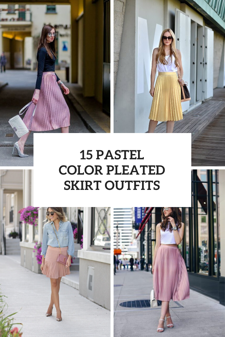 Outfits With Pastel Colored Pleated Skirts
