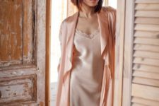 15 a white silk mini dress with a lace neckline, a pink robe with long sleeves for a comfy and elegant home look