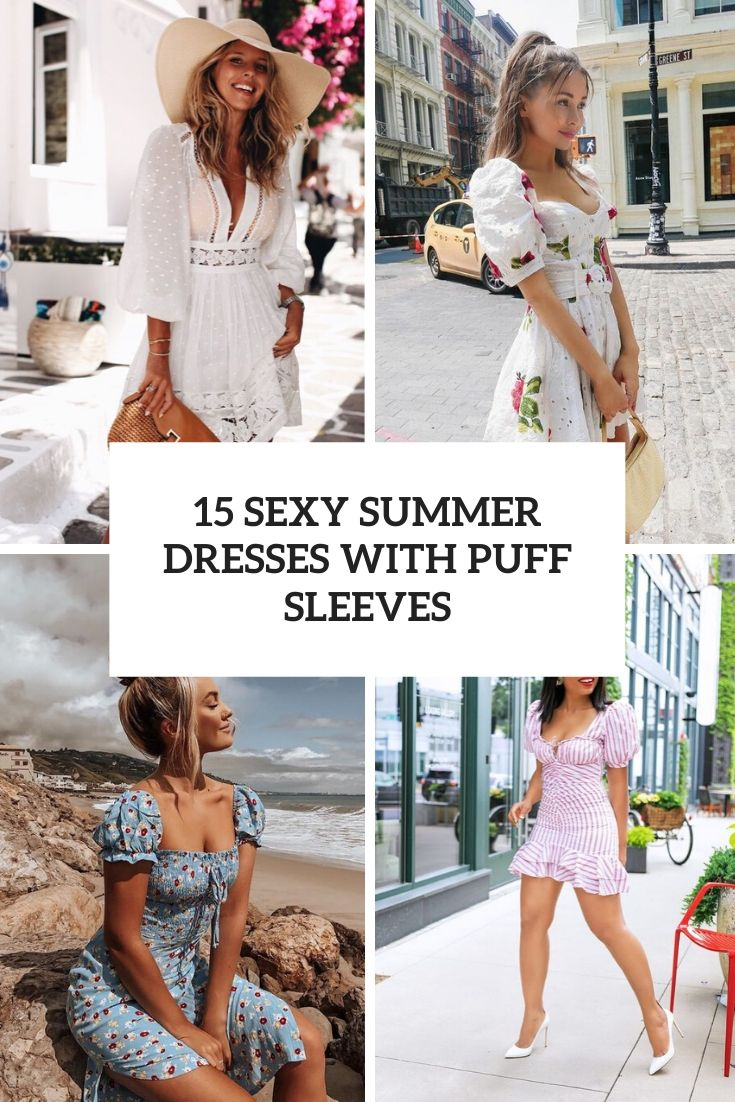sexy summer dresses with puff sleeves cover
