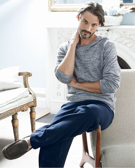 navy pants, a grey hoodi and comfy slippers for a casual and very relaxed everyday look at home
