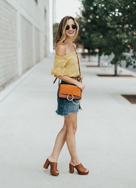 With brown bag, denim mini skirt and brown heeled sandals