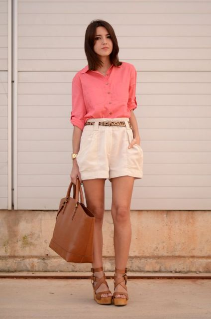 With button down shirt, brown leather tote bag and brown lace up sandals