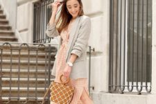 With checked midi dress, brown bag and ankle strap high heels