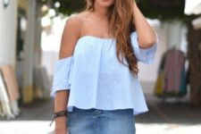 With denim skirt and white tote bag