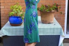 With floral knee-length dress