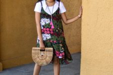 With half moon bag and beige and white shoes