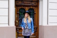 a cool look with a denim jacket and a zebra dress