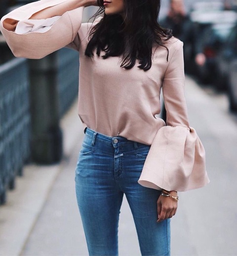 With high waisted jeans