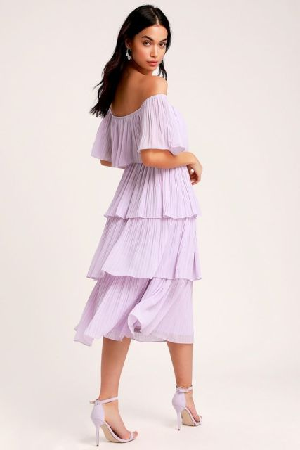 With lilac heeled sandals