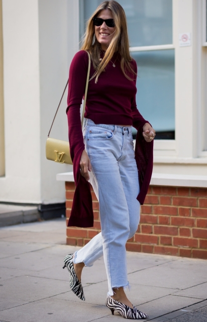 With marsala long sleeved shirt, yellow bag and loose jeans