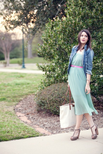 With mint green pleated dress, denim jacket and tote bag