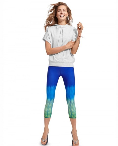 With ombre leggings and flat sandals