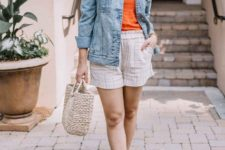 With orange shirt, denim jacket, beige bag and orange ankle strap shoes