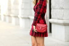 With plaid mini dress and red leather bag