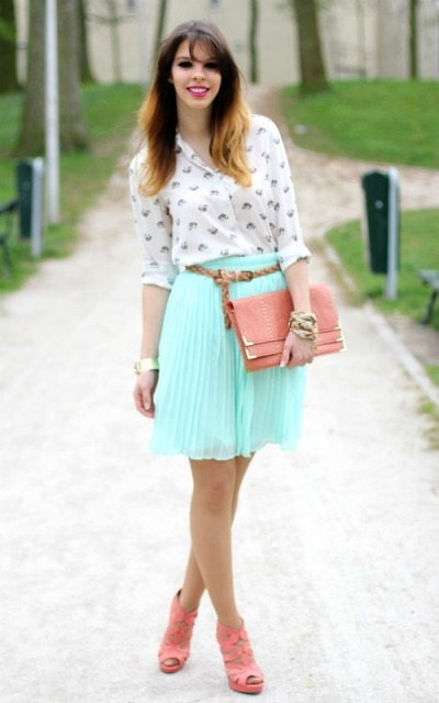 With printed shirt, pink clutch and pale pink shoes